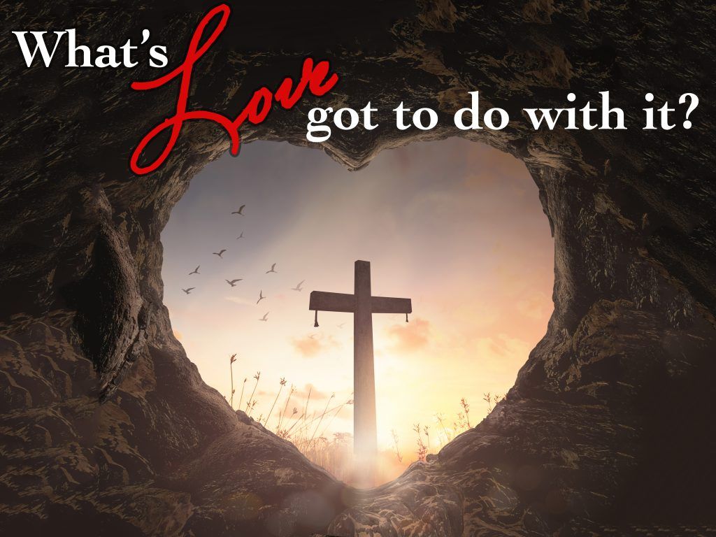 Good Friday concept: Heart shape of empty tomb stone with the cr
